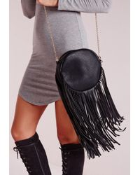 Missguided - Circle Tassel Bag Black - Lyst