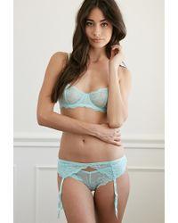 Forever 21 - Green Floral Lace Garter Belt - Lyst