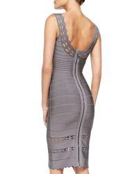 Hervé Léger - Gray Lilykate Cutout-trim Bandage Dress - Lyst