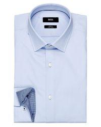 BOSS - Blue Slim Fit Joey Trimmed Shirt for Men - Lyst