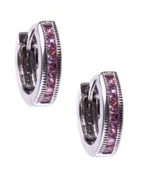 Judith Jack - Sterling Silver Pink Cubic Zirconia 113 Ct Tw Huggie Hoop Earrings - Lyst