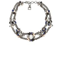 BCBGMAXAZRIA | Blue Multi-Color Stone Cluster Necklace | Lyst