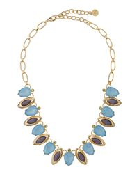 R.j. Graziano | Blue Mixed-cut Rhinestone Leaf Necklace | Lyst