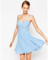 ASOS | Blue Sheer And Solid Pleated Mini Cami Dress | Lyst