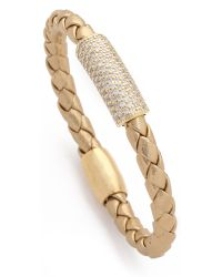 Liza Schwartz | Metallic Pave Glam Bar Leather Bracelet | Lyst