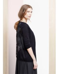 Violeta by Mango - Black Embroidered Panel Cardigan - Lyst