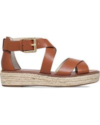 012a445b6d18 MICHAEL Michael Kors Darby Leather Flatform Sandals in Brown - Lyst