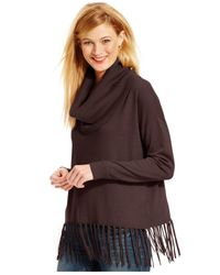 Michael Kors | Brown Michael Fringed Cowl-neck Sweater | Lyst