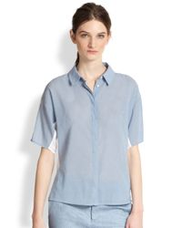 J Brand | Gray Hay Two Tone Voile Shirt | Lyst
