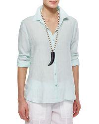 Eileen Fisher - Green Long-Sleeve Button-Front Linen Shirt - Lyst
