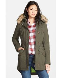 Sam Edelman Green Twill Pleat Skirt Parka With Faux Fur Trim Hood