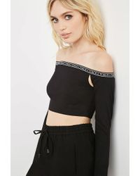 Forever 21 - Black This Is A Love Song Off-the-shoulder Crop Top - Lyst