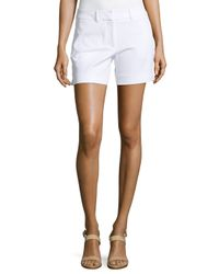 Neiman Marcus - White Basic Flat-front Twill Shorts - Lyst