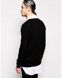 ASOS - Black Longline Lambswool Rich Jumper With Zip for Men - Lyst