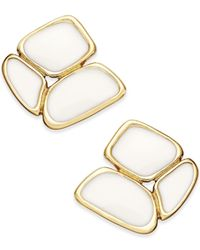 kate spade new york | Metallic Gold-tone White Cluster Stud Earrings | Lyst