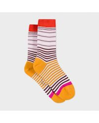 Paul Smith | Women's Pink And Orange 'mainline Stripe' Socks | Lyst