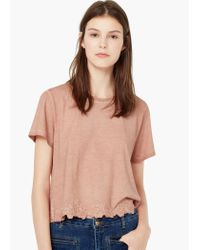 Mango - Pink Embroidered Cotton T-shirt - Lyst