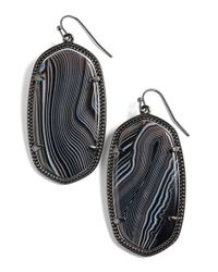 Kendra Scott | Gray 'danielle' Drop Earrings - Gunmetal/ Black Banded Agate | Lyst
