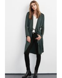 Velvet By Graham & Spencer - Green Tam Satin Belted Cardigan - Lyst