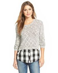 Kensie | White Layered Look Slub Knit Sweater | Lyst