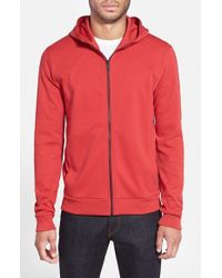 HUGO | Red Cotton Jersey Full Zip Hoodie for Men | Lyst