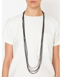 Brunello Cucinelli | Black Multiple Row Beaded Necklace | Lyst