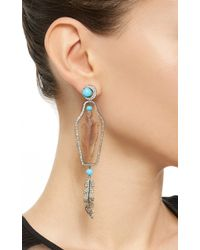Lydia Courteille - Multicolor One Of A Kind Feather Drop Earrings - Lyst