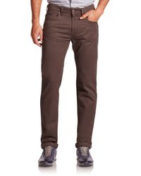 Saks Fifth Avenue | Brown Five-pocket Cotton Pants for Men | Lyst
