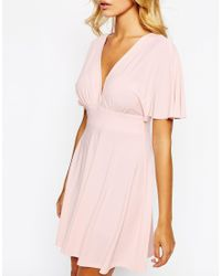 Love - Pink Plunge Skater Dress With Kimono Sleeve - Lyst