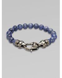 Stephen Webster | Gray Ravens Head Beaded Bracelet for Men | Lyst