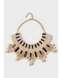 Bebe | Black Pearlescent Bib Necklace | Lyst