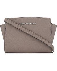 MICHAEL Michael Kors | Gray Selma Mini Leather Messenger Bag | Lyst