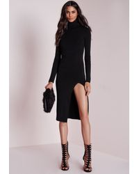 Missguided | Polo Neck High Split Knitted Midi Dress Black | Lyst