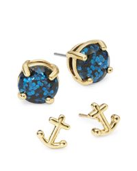 kate spade new york | Blue Anchor Two-piece Stud Set | Lyst