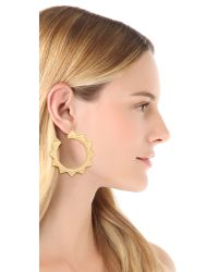 Kenneth Jay Lane | Metallic Sun Hoop Earrings | Lyst