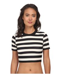 DKNY - Black Crop Scuba Shirt Cover-up - Lyst