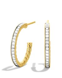 David Yurman | Yellow Sculpted Cable Medium Hoop Earrings With Diamonds In Gold | Lyst