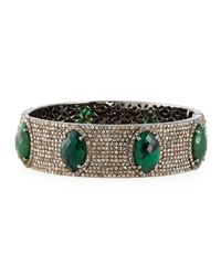 Bavna | Green Bangle Bracelet With Emeralds & Diamonds | Lyst