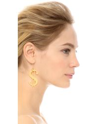 Erickson Beamon | Metallic Dollar Sign Earrings - Gold | Lyst