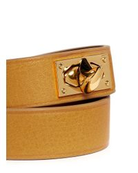 Givenchy | Metallic Sharktooth Double Wrap Leather Bracelet | Lyst