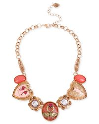 Betsey Johnson - Multicolor Rose Gold-tone Swan Charm Frontal Necklace - Lyst