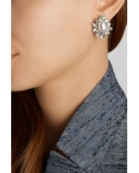 Ben-Amun - Metallic Silver-Plated, Swarovski Crystal And Faux Pearl Earrings - Lyst