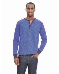 Banana Republic | Blue Textured Raglan Henley for Men | Lyst