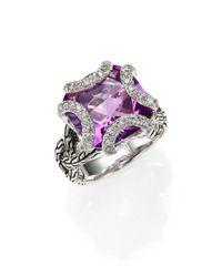 John Hardy - Purple Classic Chain Amethyst, Diamond & Sterling Silver Medium Braided Ring - Lyst