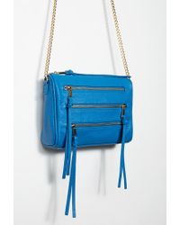 Forever 21 | Blue Faux Leather Zippered Crossbody | Lyst