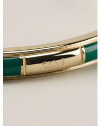 Chloé | Green Logo Embossed Bangle | Lyst