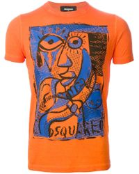 DSquared² | Orange Printed T-shirt for Men | Lyst