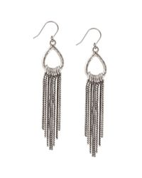 Lucky Brand | Metallic Silvertone Ring And Tassel Drop Earrings | Lyst