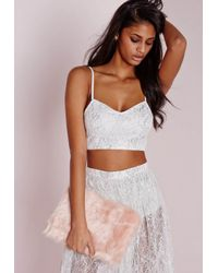 Missguided - Metallic Lace Detail Bralet Silver - Lyst