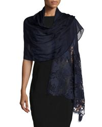 Valentino - Blue Voile Stole With Rose Lace - Lyst